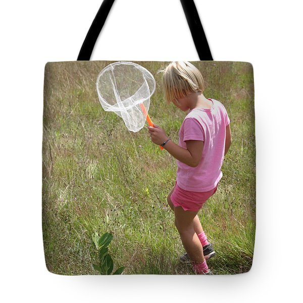 Girl Collecting Insects In A Meadow Tote Bag by Ted Kinsman