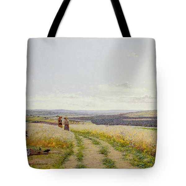 Girl In The Fields   Tote Bag by Jean F Monchablon