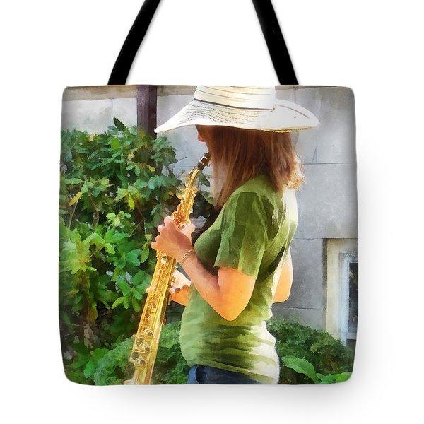 Girl Playing Saxophone Tote Bag by Susan Savad