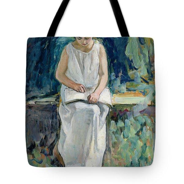 Girl Reading Tote Bag by Henri Lebasque