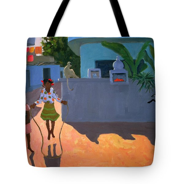 Girl Skipping Tote Bag by Andrew Macara