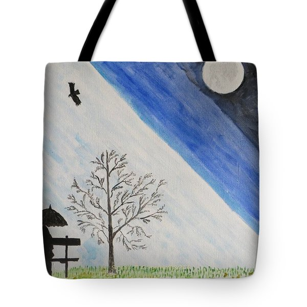 Tote Bag featuring the painting Girl With A Umbrella by Sonali Gangane