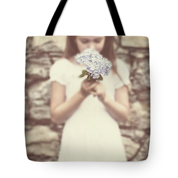 Girl With Hydrangea Tote Bag by Joana Kruse