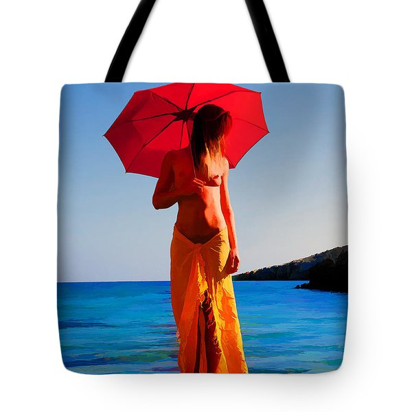 Girl With Red Umbrella Tote Bag