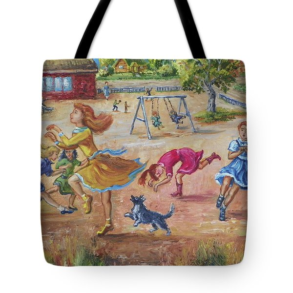Girls Playing Horse Tote Bag by Dawn Senior-Trask