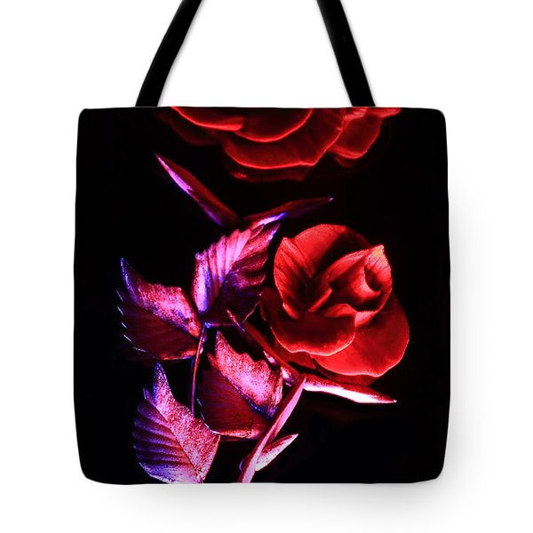Glowing Glass Rose Tote Bag