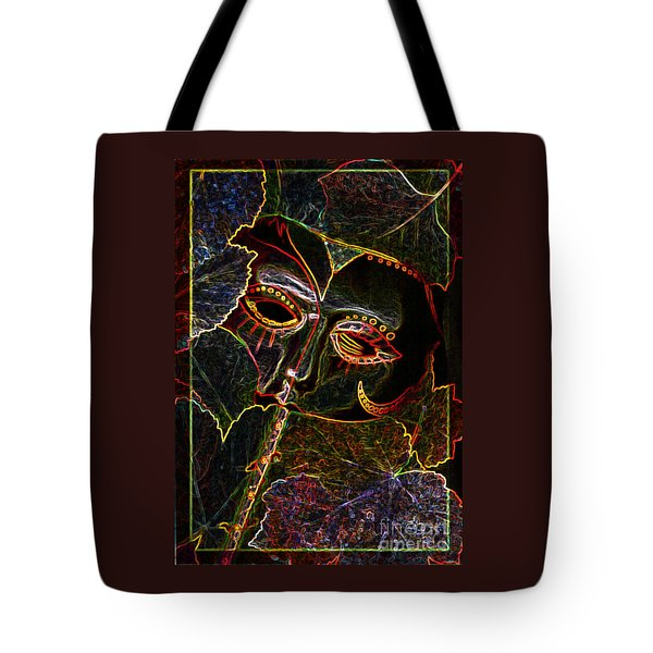 Tote Bag featuring the relief Glowing Mask With Leaves by Nareeta Martin