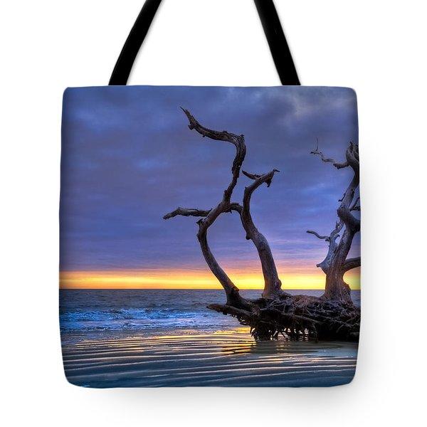 Glowing Sands At Driftwood Beach Tote Bag by Debra and Dave Vanderlaan