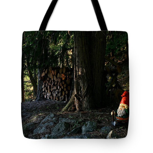 Gnome And The Woodpile Tote Bag by Lorraine Devon Wilke