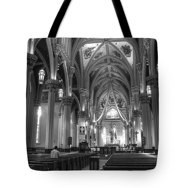 God Do You Hear Me Black And White Tote Bag by Ken Smith