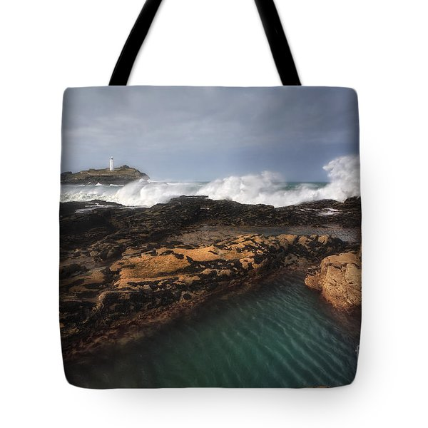 Godrevy Lighthouse In Cornwall, England Tote Bag by Arild Heitmann