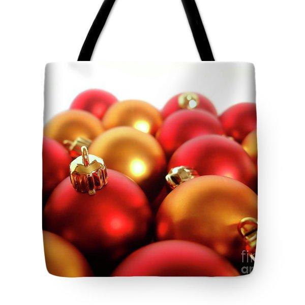 Gold And Red Xmas Balls Tote Bag by Carlos Caetano