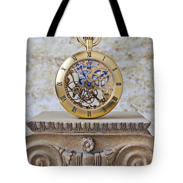 Gold Skeleton Pocket Watch Tote Bag by Garry Gay