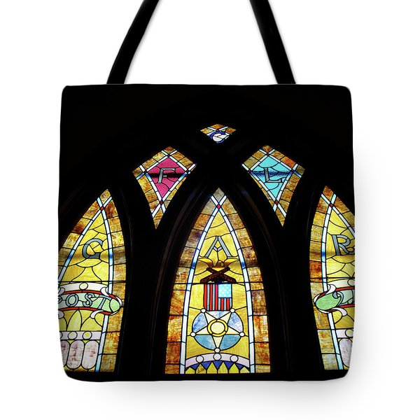 Gold Stained Glass Window Tote Bag by Thomas Woolworth
