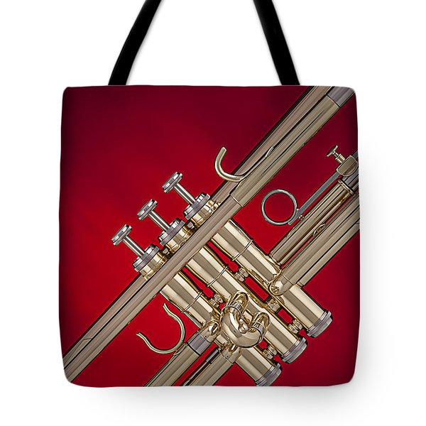 Gold Trumpet Isolated On Red Tote Bag