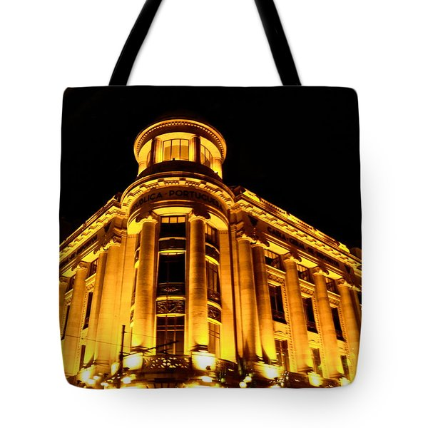 Tote Bag featuring the photograph Golden Building At Night by Kirsten Giving