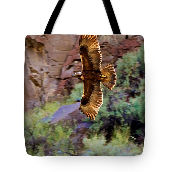 Tote Bag featuring the photograph Golden Flight  by Britt Runyon
