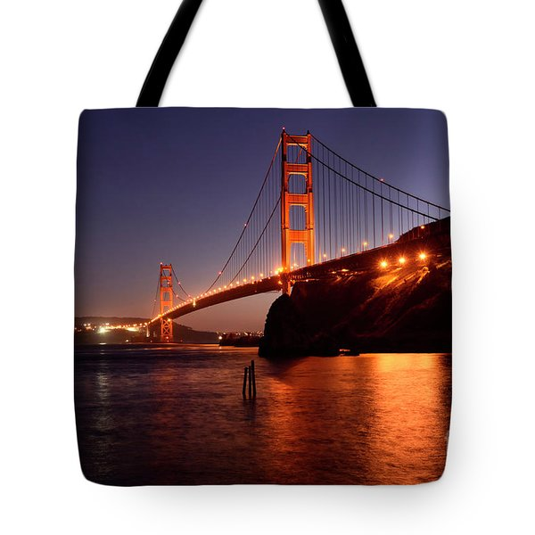 Golden Gate Bridge At Night 2 Tote Bag by Bob Christopher