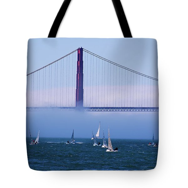 Tote Bag featuring the photograph Golden Gate Windsurfers by Don Schwartz