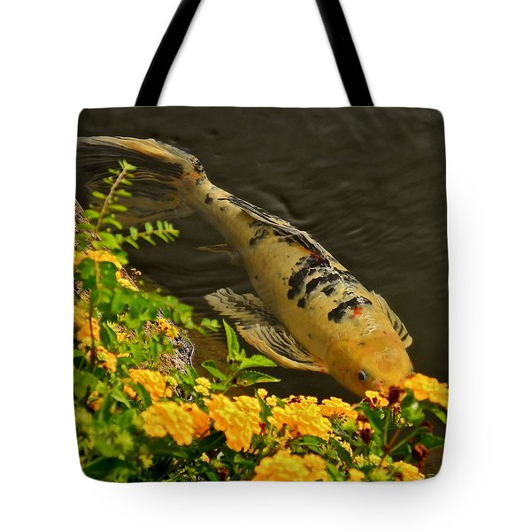 Tote Bag featuring the photograph Golden Koi by Kirsten Giving