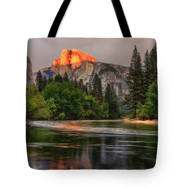 Golden Light On Halfdome Tote Bag