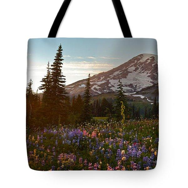 Golden Meadows Of Wildflowers Tote Bag by Mike Reid