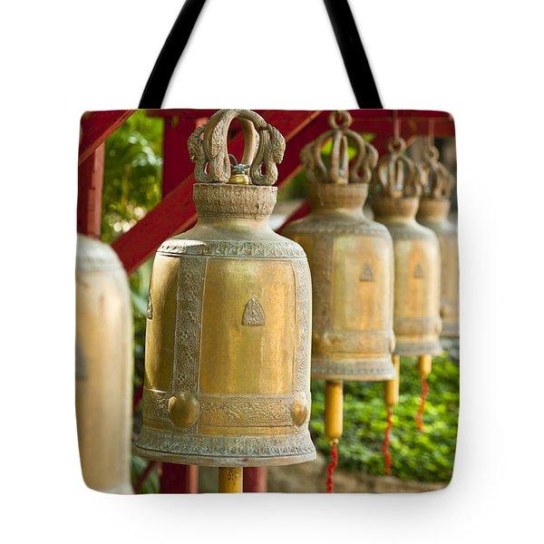 Golden Prayer Bells Tote Bag by Ulrich Schade