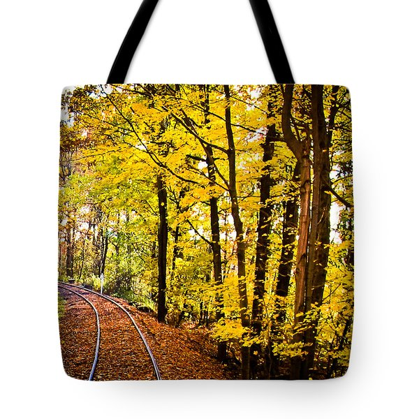 Tote Bag featuring the photograph Golden Rails by Sara Frank