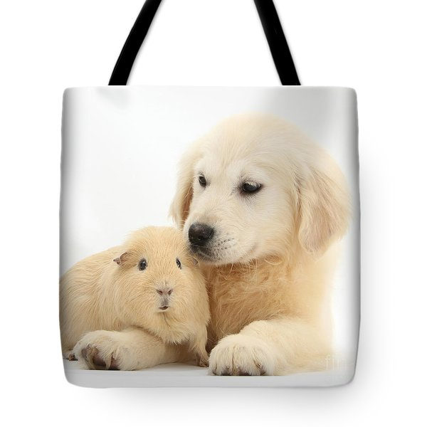 Golden Retriever Pup And Yellow Guinea Tote Bag by Mark Taylor