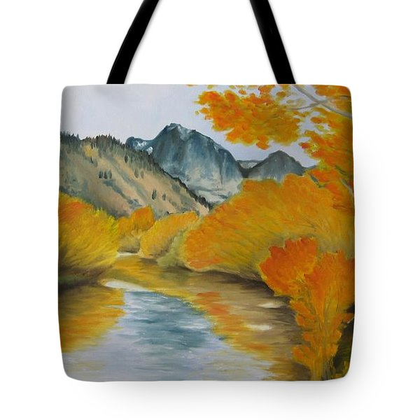 Tote Bag featuring the painting Golden Serenity by Jindra Noewi