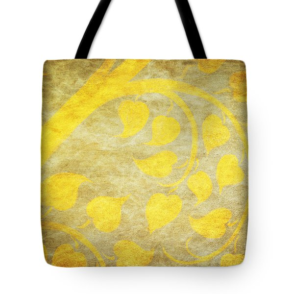 Golden Tree Pattern On Paper Tote Bag by Setsiri Silapasuwanchai