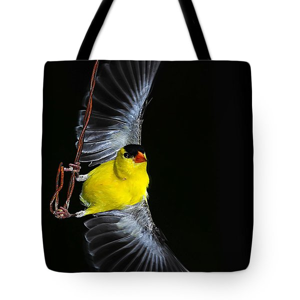 Tote Bag featuring the photograph Goldfinch High Wire Act by Randall Branham