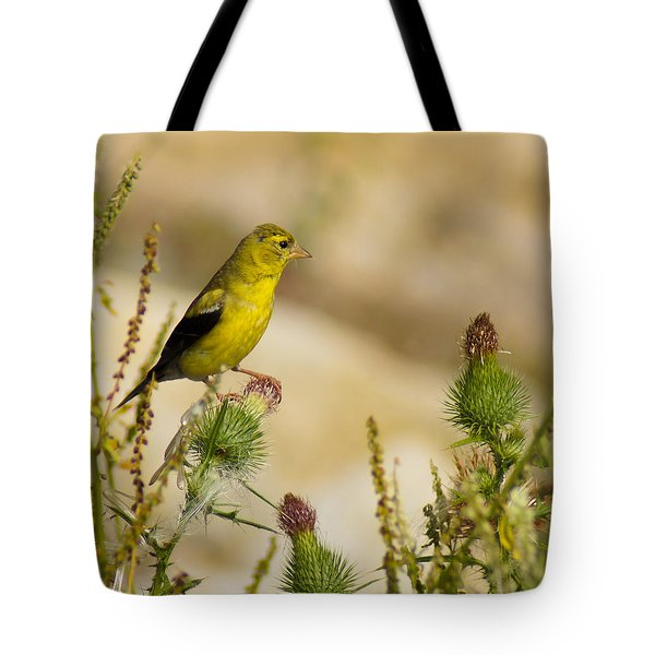 Goldfinch On Lookout Tote Bag by Bill Pevlor