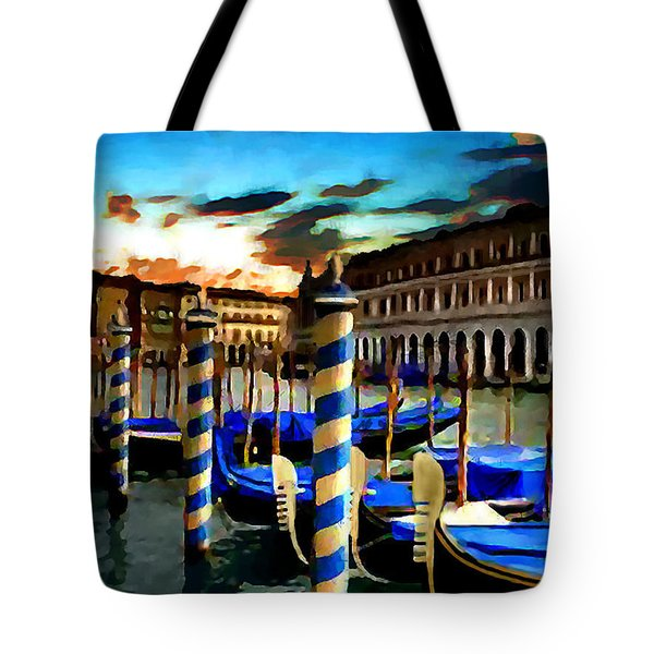 Gondolas Under A Summer Sunset Tote Bag