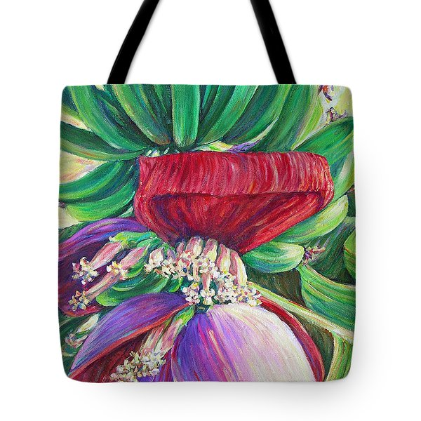 Tote Bag featuring the painting Gone Bananas by Li Newton