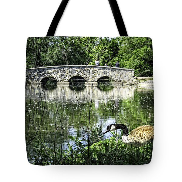Tote Bag featuring the photograph Goose And Bridge At Silver Lake by Tom Gort