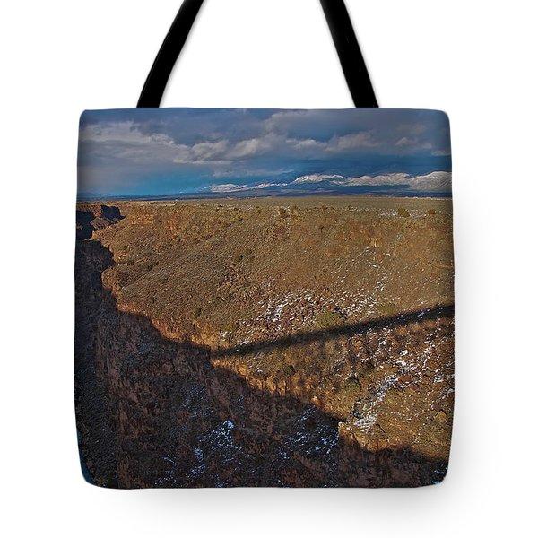 Tote Bag featuring the photograph Gorge Bridge Shadow by Britt Runyon