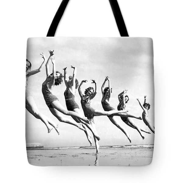 Graceful Line Of Beach Dancers Tote Bag