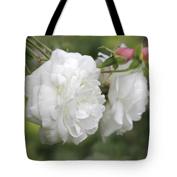 Graceful White Rose And Pink Rosebuds Tote Bag by Jennie Marie Schell