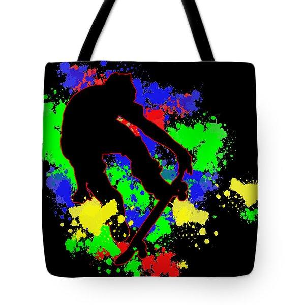 Graffiti Paint Splotches Skateboarder Tote Bag by Elaine Plesser