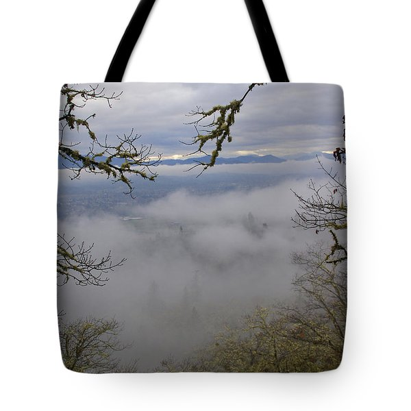 Grants Pass In The Fog Tote Bag by Mick Anderson