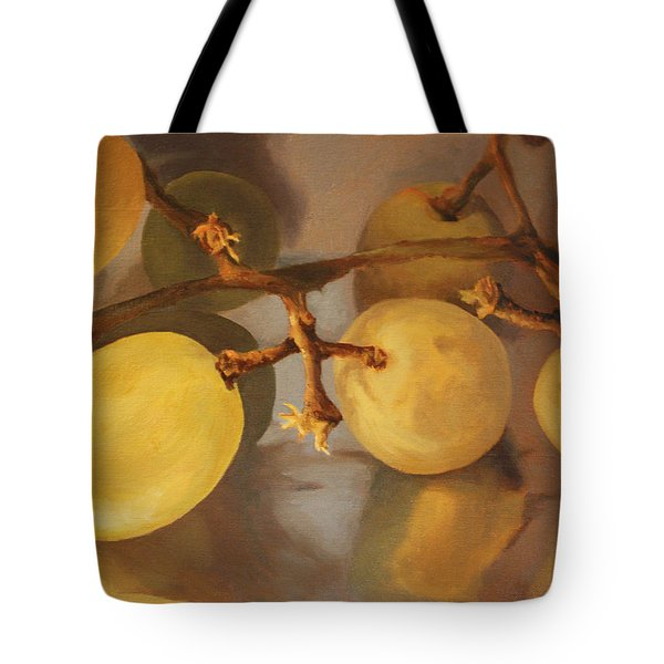 Grapes On Foil Tote Bag by Rachel Hames