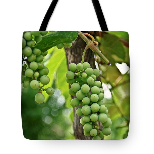 Tote Bag featuring the photograph Grapes On The Vine by Susan Leggett