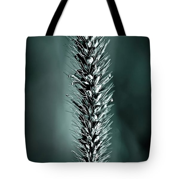 Grass Seedhead In Deep Cyan Tote Bag