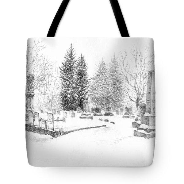 Graveyard In The Snow Tote Bag