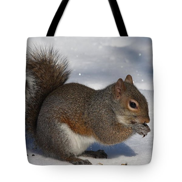 Gray Squirrel On Snow Tote Bag