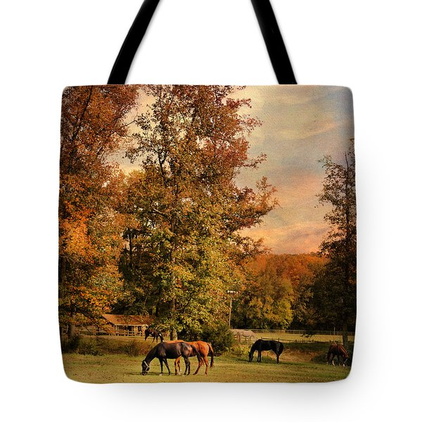 Grazing In Autumn Tote Bag by Jai Johnson