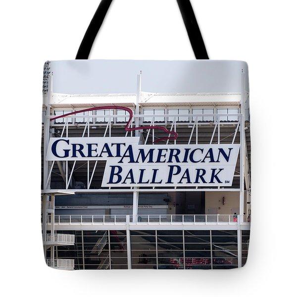 Great American Ball Park Sign In Cincinnati Tote Bag by Paul Velgos