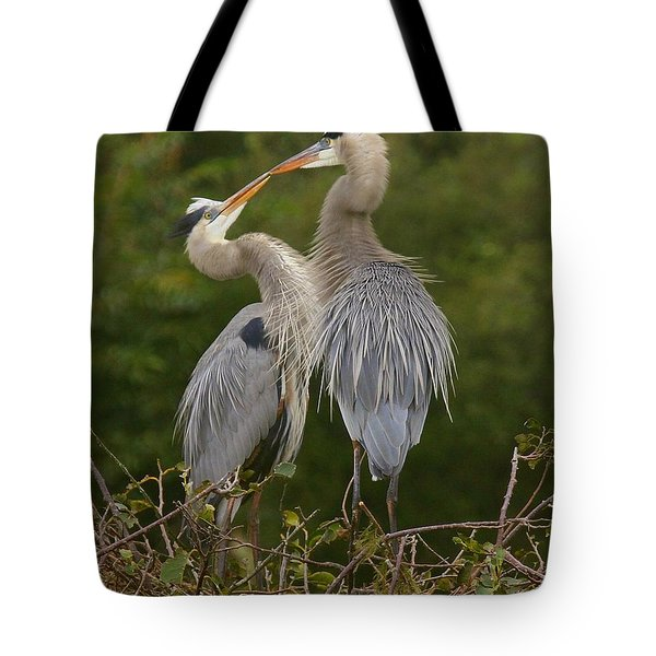 Tote Bag featuring the photograph Great Blue Heron Couple by Myrna Bradshaw