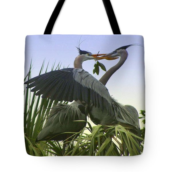 Tote Bag featuring the photograph Great Blue Herons by Myrna Bradshaw